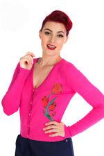 Pink Rose Print Crew Neck Button Up Cardigan Sweater - S to XL - Hey Viv Retro