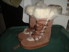EMU GIRLS 11 BROWN FUR TRIM BOOTS