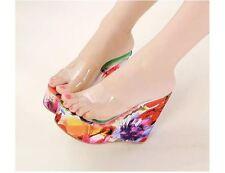 Scarpe ciabatte sabot sandali tacco zeppa 13 cm rosa fiori elegante 8050