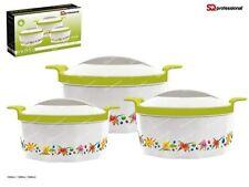 Fionna 3pc Hot Pot Casserole Set Keep Warm Serving Dishes Green Pink  Orange