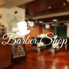 Barberos pared de la tienda Adhesivo ventana tijeras salón gorra cepillo bb15