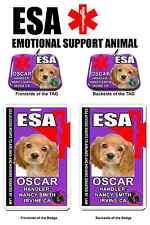 Emotional Support Animal purple medical symbol PHOTO ID tag custom badge & tag