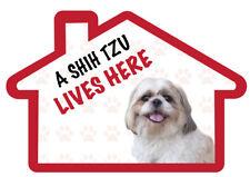 A Shih Tzu  Lives Here Vinyl  Dog House Home Decal Sticker Pet Animal Lover