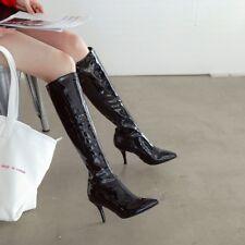 Women's Pointy Toe Knee High Heels Stilettos Knight Boots Winter Long Shoes Plus