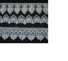 1-4m Spitze feines Polyester Spitzenband Lace  Ätzspitze weiß ivory