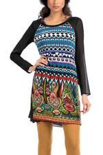 Desigual jouirait dress 38-46 10-18 RRP £ 84 black & Bright Folk Inspired Pattern