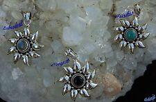 Kettenanhänger Sonne Edelsteine Sterling Silber Talisman Türkis Onyx Labradorit
