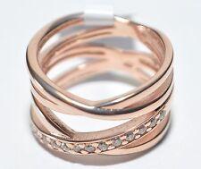 ECHTES Silber 925 Ring mit Zirkonia Steinen - Vergoldet mit Rotgold 5µ - Neuheit