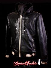 Men's BASEBALL HOODED Leather Jacket Black Hip Hop Lambskin Jacket Hoodie 4486