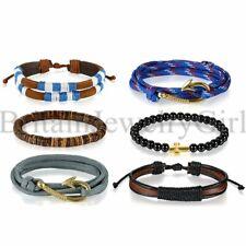 3-6PCS Set Anchor Nautical Cross Beaded Bangle Leather Bracelet for Men Women
