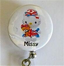 NURSE BRITISH UK HELLO KITTY ID BADGE REEL RETRACTABLE, MEDICAL MIDWIFE HOSPITAL