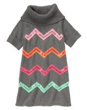 New Gymboree WILD FOR HORSES Girls 4 Gray Sweater Chevrons Dress