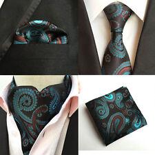 Mens Lake Blue Brown Paisley Silk Necktie Tie Ascot Cravat Pocket Square Set Lot