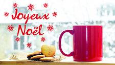 * 1 Sticker Joyeux Noël pour fenêtre ou vitrine * Blanc / Rouge / Noir 27cm