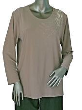Magna Langarmshirt Shirt elastisch Slinky Qualität mit StrassTaupe Gr.40-58