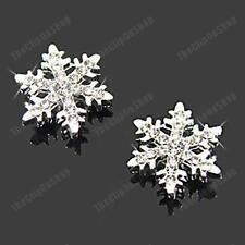 Comodo Clip per Snowflake Crystal Borchie Orecchini argento con strass fiocchi di neve