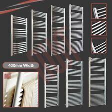 400 mm (W) Wide Riscaldato Portasciugamani radiatori, dritto e curvo, cromato e bianco