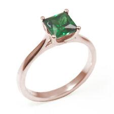 Engagement Ring Diamond Unique Princess Cut 1 carat Emerald 9 Carat Rose Gold