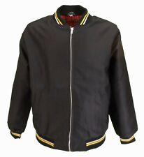 Mens Black Tartan Lined Classic Harrington Monkey Jacket