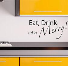 Cuisine Autocollant Mural BOISSON aliment et être Joyeux citations décalques