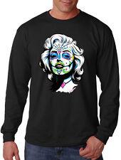 New Men's Marilyn Monroe catrina Long Sleeve Black T Shirt  Sugar Skull Tattoo