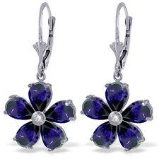 Genuine Sapphire Gemstones & Diamond Flower Leverback Earrings in 14K Solid Gold