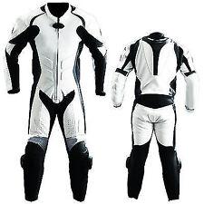 Blanc et noir Moto Cuir de vache Courses Costume Armure Costume en cuir CE