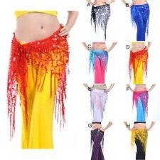 Belly Dance Triangle Skirt Bead Sequin Fringe Tassel Mesh Hip Scarf Belt Wrap