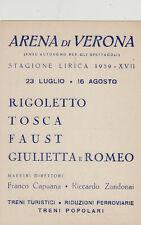 #VERONA: ARENA DI VERONA- STAGIONE LIRICA 1939