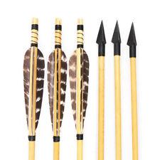 6/12pc Archery Handmade Wood Arrow Turkey Fletching Feather Triangular Arrowhead