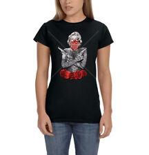 Marilyn Monroe Gangster Tattoo Bandana Guns Roses Ladies Womens T-Shirt Tee