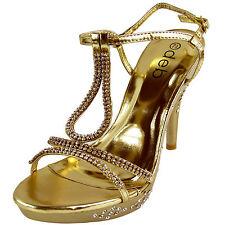 New women's shoes evening stilettos rhinestones buckle party prom wedding gold