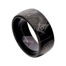 10MM Black Tungsten Carbide Masonic Freemason Men's Wedding Band size 8-13