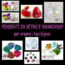 CIONDOLI PENDENTI IN VETRO E SWAROVSKY perle charms bijoux bigiotteria faidate