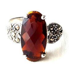 GARNET Stone RING Beveled Oval Garnet Marcasite 925 Sterling Silver (SIZE 6,7,8)