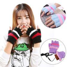USB Heating Winter Hand Warm Gloves Heated Fingerless Plush Warmer Women Mittens