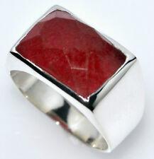 sólido de ley hombre plata 925 Sello anillos Rojo Jade con piedra preciosa