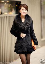New RabbitFur Raccoon Collar Women long Coat Jacket Overcoat  Garment