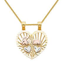 14k Tri-tone Gold 'Te Amo' Split Heart Pendant with Gold Wheat Chain