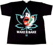 Men MARIJUANA T-Shirt Wake N Bake 420 Weed Pot Tee Adult L-4XL Black New