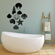 Vinyl Wall Decal Sea Ocean Seashells Bathroom Style Stickers Mural (g240)