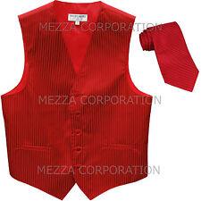 New Men's Tuxedo Vest Waistcoat Vertical Stripes Necktie prom wedding party Red