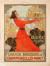 PLAQUE ALU DECO AFFICHE GRANDE BRASSERIE BIERE LUXE CHAMPIGNEULLES NANCY ALCOOL