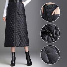 Women Down Puffer Skirt Lightly Quilted Padded A-line High Waist Dress Winter