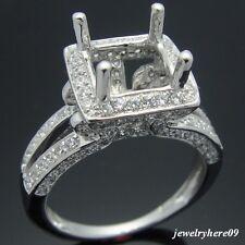14K WHITE GOLD SI/H FULL DIAMOND SEMI MOUNT ENGAGEMENT RING PRINCESS 6.5X6.5MM