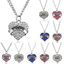 Fashion Women Heart Crystal Rhinestone Mom Family Chain Pendant Necklace Charm