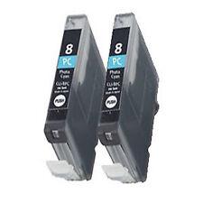2 Canon CLI-8PC Light Cyan Printer Ink Cartridges