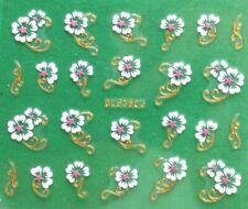 Rose Flower Petals Golden or Silver Rhinestone 3D Nail Art Sticker BLE358