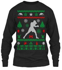 Boxing Ugly Christmas Sweater Gildan Long Sleeve Tee T-Shirt