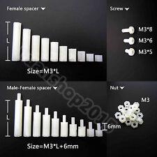 25/50/100pcs White Plastic Nylon M3 Hex Column Standoff Support Spacer Screw Nut